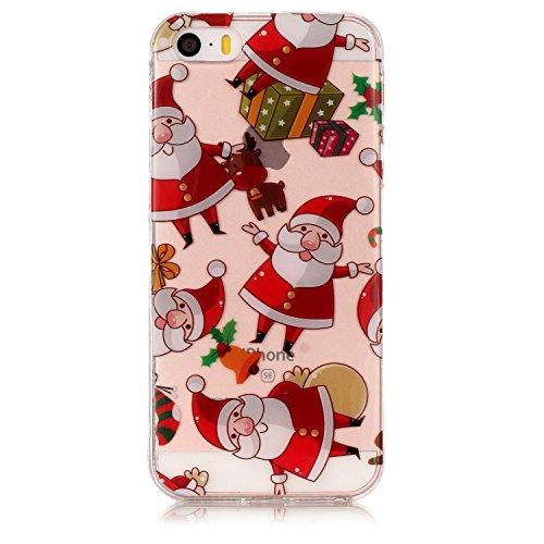 Copertura morbida del silicone TPU Per iPhone 5 5S SE 4, Funyye Modello Natale bello Carino Disegni [Buon Natale] Brillantini Glitter Morbido Sottile Chiaro Leggero Gel Protettiva Case Flessibile Dol Babbo Natale