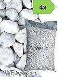 Ciottoli di marmo Bianco Carrara - 4 sacchi da 25 kg - sassi pietre giardino (60/100)