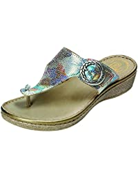MOIKA Frauen Kreuz Roman Prise Sandale Sommer Schuhe Slipper Mode Strand Flache Schuhe EU42Blau