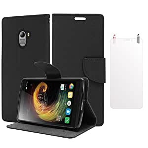 SDO™ Luxury Mercury Diary Wallet Style Flip Cover Case for Lenovo K4 Note - Black + Clear Screen Guard