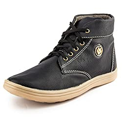 Golden Sparrow MenS Black Fabric Synthetic Casual Shoe (Tm-P07-06)- 6 Uk