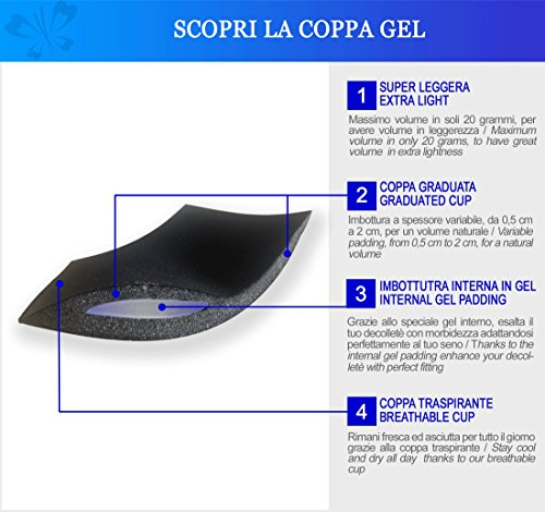 Miracle P2729 Reggiseno Imbottito Push Up Bra con Ferretto Morbido Coppe Gel Ultralight Volume Sexy al Seno by Lady Bella Lingerie Nero