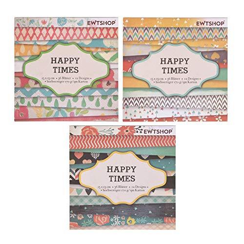 ewtshop® 3 x Motivblock mit je 36 Blättern, Designpapier, Bastelpapier, Dekorpapier, 108 Blätter, 36 Designs