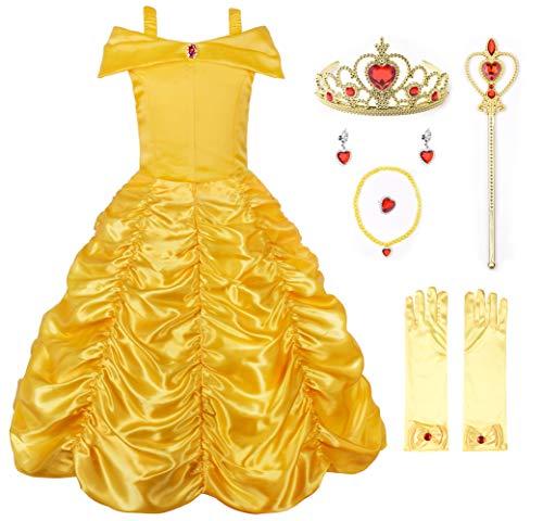 JerrisApparel Mädchen Belle Kostüm Prinzessin Kleid Drop Shoulder Cosplay Kostüm (4-5 Jahren, Gelb mit Zubehör)