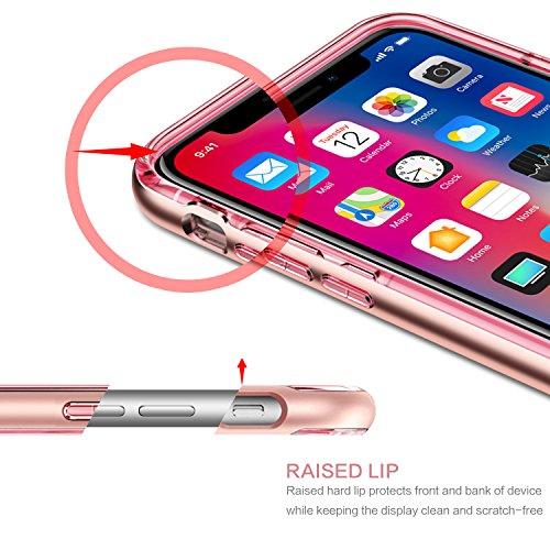 iPhone X Hülle Case Durchsichtig, BENTOBEN iPhone X Handyhülle stoßfest kratzfest 3D Geometrische Motiv mit Plating PC Bumper Silikon Case für Apple iPhone X / iPhone 10, Transparent Rose Gold K005-Transparent Rose Gold