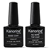 Kanorine UV LED Soak Off Gel Nail Polish Top Coat and Base Coat Set of 2 x 10ml Each(Base & No Wipe Top Coat)