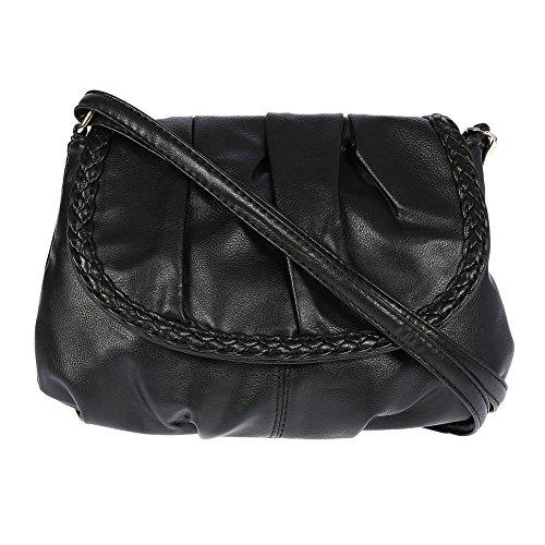 Kleine Damentasche Umhängetasche Citytasche bag Schultertasche Handtasche Clutch 23 x 14 cm (Schwarz)