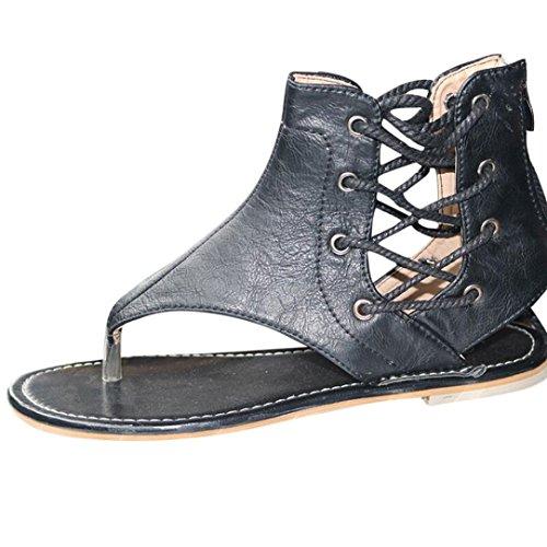 Zehentrenner in 3 Farben für Damen, FEITONG Frauen Römer Flachen Sandalen Riemchensandalen Ankle Straps Schuhe Badeschuhe Sommer Schuhe (EU:38/Etikettengröße 39, Schwarz) (Satin Mid Heel)