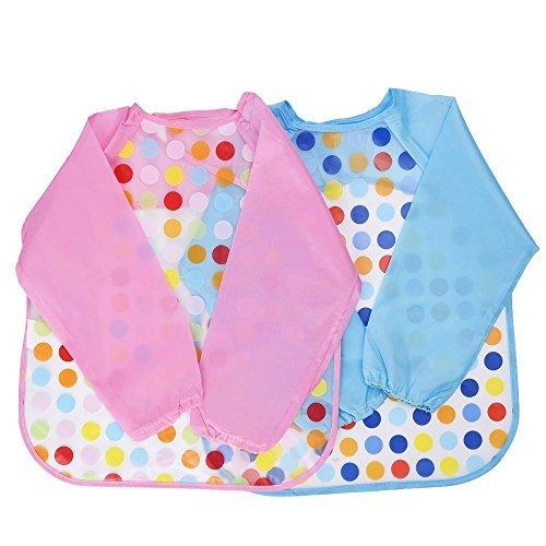 Blulu unisex Baby wasserdichte Ärmellätzchen Babylätzchen Kinderlätzchen lange Lätzchen für die Säuglinge, 2 Stück