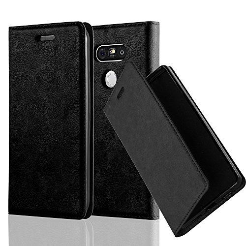 Cadorabo Hülle für LG G5 - Hülle in Nacht SCHWARZ – Handyhülle mit Magnetverschluss, Standfunktion und Kartenfach - Case Cover Schutzhülle Etui Tasche Book Klapp Style