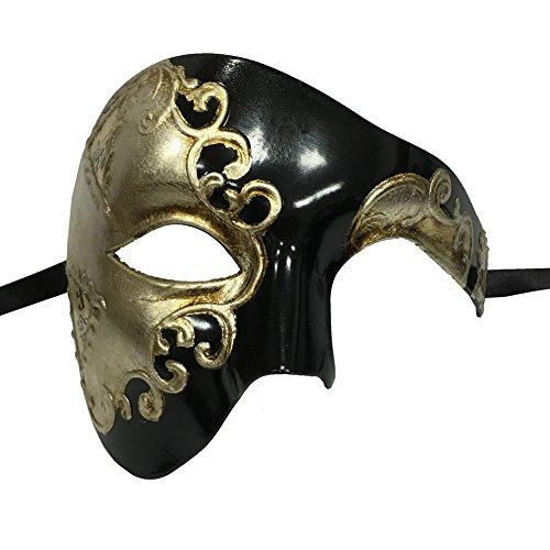 xvevina Herren Masquerade Maske Half Face venezianische Maske für Maskenball/Kostüm Party, schwarz/silber, (Herren Maskenball Kostüme)