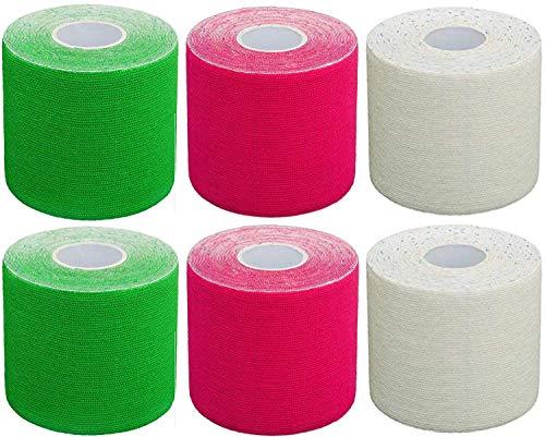 #DoYourFitness x World Fitness Kinesiologie Tape 6er Set Mixpackung elastisches Klebeband 5 m (L) x 5 cm (B) in verschiedenen Farben