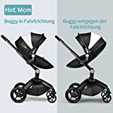 Hot Mom Limited Edition Kombikinderwagen und Buggy Sportwagen 3-in-1 Travelsystem 2016 mit Babywanne ,Schwarz - 2