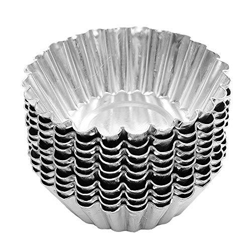 Descripción:   50 piezas de molde de pastel de aluminio de tarta de huevo forrado con herramientas para hornear tarta de huevo.  Hecho de aleación de aluminio de alta calidad, la copa es segura, no tóxica y duradera.  El diseño de revestimiento anti...