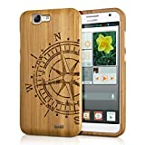 kwmobile Huawei Ascend G7 Cover bambù - Custodia in Bamboo Naturale - Case Rigida Backcover per Huawei Ascend G7