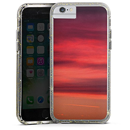 Apple iPhone 7 Bumper Hülle Bumper Case Glitzer Hülle Sonnenuntergang Himmel Romantik Bumper Case Glitzer gold