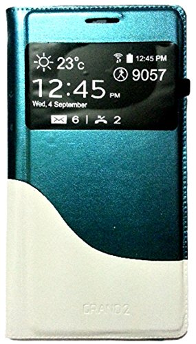 PCM Dual Color S View Leather Flip Cover Case Samsung galaxy Grand 2 - 7102/7106 - Dark Green & White  available at amazon for Rs.325