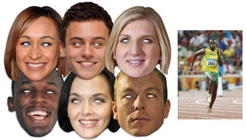 Großbritannien Athleten - Olympische Spiele Karte Partei Gesichtsmasken (Maske) (Packung von 6) includes: Usain Bolt, Victoria Pendleton, Jessica Ennis, Rebecca Adlington, Tom Daley und Chris Hoy with BONUS Usain Bolt 6x4