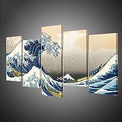 XiaoHeJD 5 Piezas de Pintura de Arte Katsushika Hokusai Gran Ola de Kanagawa Vistas del Monte Fuji Art Silk Poster, 20 * 40cmx4 20 * 50cmx1
