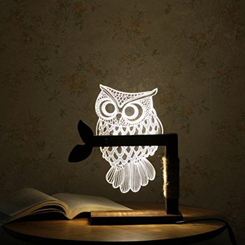 OULII Dimmable USB gufo tavolo luce 3D luce notturna LED tavolo lampada Home Decor con spina EU - regalo di Natale