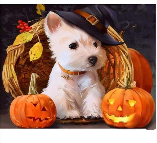 QAZZSF Peinture de bricolage par numéros Halloween peinture de Chien par nombre d'animaux peinture acrylique sur Toile peinture Cadeau Unique Pour la décoration