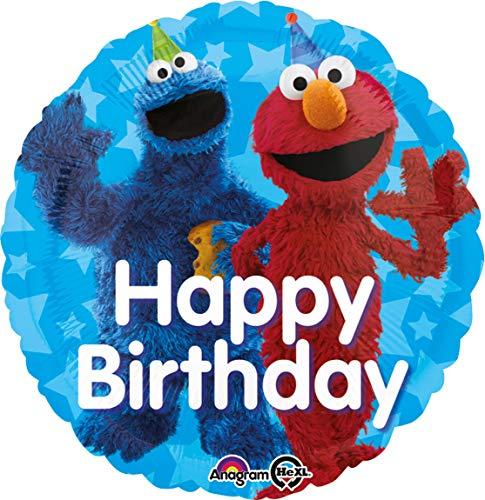Sesamstraße Figur Kostüm - amscan 3439501 Folienballon Sesamstrasse Happy Birthday, Blau, Rot