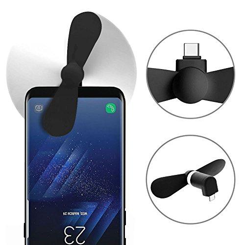 subtel© Handyventilator leise klein USB -C für Handy, Smartphone, Tablet, mit OTG on-The-go | USB-Ventilator, Mini-Ventilator, Handy-Ventilator, Hand-Ventilator Fan schwarz biegsam Doppelblatt Smartphone Mini-usb