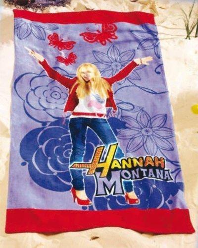 Hannah Montana Strandtuch (Hannah Montana Strandtuch Badetuch Handtuch rot blau Miley Cyrus 75x150cm Decke)