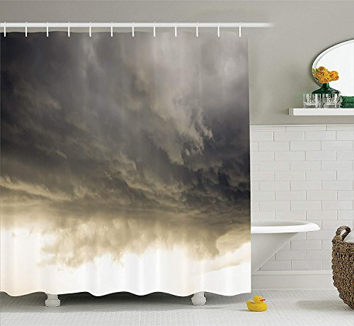 JIEKEIO Apartment Decor Shower Curtain Set, Heavy Storm Clouds in Dark Sky Hurricane Weather Cloudscape Mass of Liquid Droplets Image, Bathroom Accessories, 60 * 72inch Extralong, Grey -