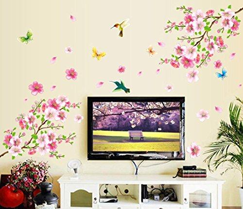 Ouneed® Wandaufkleber Wandtattoo Wandsticker , Große Kirschblüten-Blumen-Schmetterlings-Baum-Wand-Aufkleber-Kunst-Abziehbild-Ausgangsdekor (Kirschblüten-baum-wand-aufkleber)