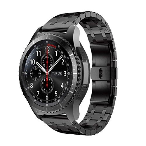 samLIKE Echtes Edelstahl Uhrenarmband Band Strap für Samsung Gear S3 Frontier Uhr (Schwarz) (Wire Mesh Band)