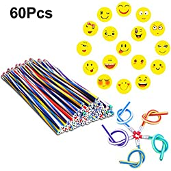 InnoBase Lapices Flexible Bendy Mágicos Juguete Soft Pencils Goma de Borrar Emoji Borradores Emoji Emoticon Rellenos Bolsas Fiesta Niños Party Bag Diversión Equipo Escuela Regalos DIY Juguete(60Pcs)