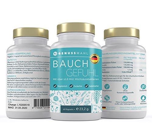 Bauchgefühl Kapseln - 60x Premium Probiotika To-Go - Kulturen-Komplex mit Lactobacillus + Bifidobacterium - über 10,8 Mrd. Milchsäurebakterien kbE