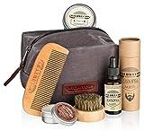 Wildwuchs Bartpflege - Bart Geschenk-Set als Bartpflegeset in hochwertigem Kulturbeutel mit Bartöl, Bartbürste, Bartkamm und Bartwachs