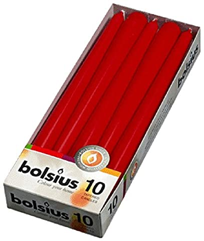 10 Bolsius Red Non Drip Dinner Tapered Candles, 25cm, 7.5 hours and FREE Inspirational Fridge Magnet