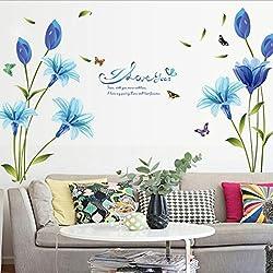Chshe - Adhesivo decorativo para pared de lirio azul. Arte de vinilo para pared. Pegatinas adhesivas de decoración para el hogar para salón, dormitorio, TV y/o fondo pared.