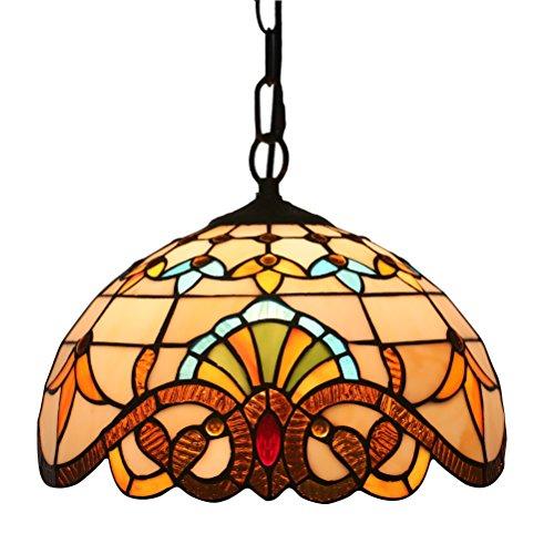 FABAKIRA Kronleuchter Deckleuchung Tiffany Stil 8 Zoll Meatall Lampeschirm Stained Glas Dekorative Vintage Lampen[Energieklasse A++] -