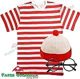 MENS LADIES RED & WHITE STRIPED TSHIRT HAT & GLASSES Fancy Dress (Men: Small)