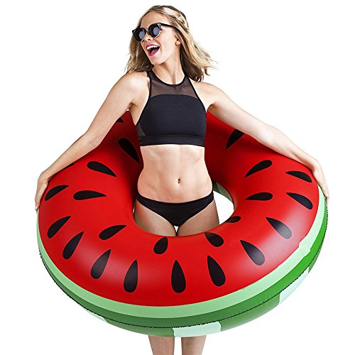 Missley Großes aufblasbares Einhorn Floating- Floatie Ride On Rideable Blow Up Sommer Spaß Pool Spielzeug Liege Floatie Raft für Kinder & Erwachsene (watermelon ring) -