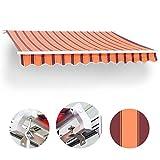 Wohnstyle24 300 x 250 Gelenkarmmarkise Markise orange mit Handkurbel Sonnenschutz Sichtschutz