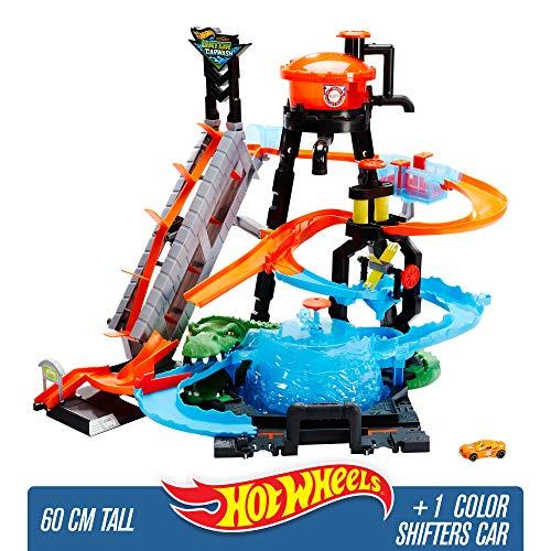 Hot Wheels City Station de Lavage Ultime, coffret de jeu pour petites voitures avec circuit et pistes, Jouet pour enfant, FTB67