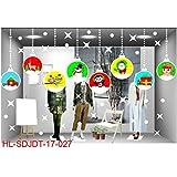 Fenverk FröHliche Weihnachten Haushalt Zimmer Wand Aufkleber WandgemäLde Dekor Abziehbild Entfernbar DIY Weihnachtsmann Claus Baum Fenster Zuhause Dekoration Schneemann Rentier 70 * 50CM(A)