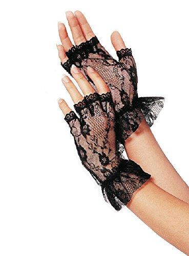 Leg Avenue Fingerlose Schwarzer Spitze Rüschen Handschuhe - G1205 (Leg Rüschen Avenue)