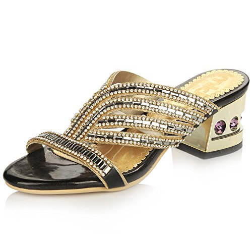YMFIE Luxus Strass High Heel Sandaletten & Hausschuhe Sommer Ms. Bequeme Rutschfeste Fersen, 40 EU, Schwarz
