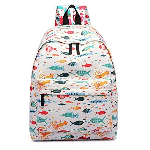 Miss Lulu perro lunares, flores y mariposas Plain Retro Fashion mochila mochila escolar bolsas Fish Beige M