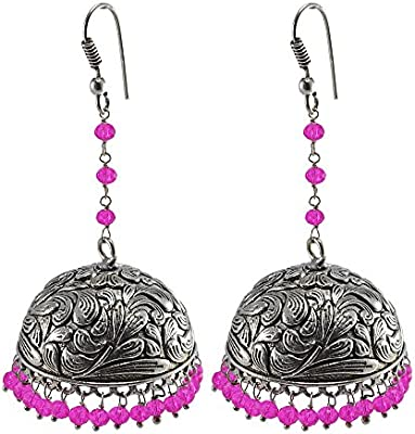 Rosa pendientes de cristal, templo joyería india plata jhumkas-large Jhumki gitana tribal joyería por silvesto India pg-32387