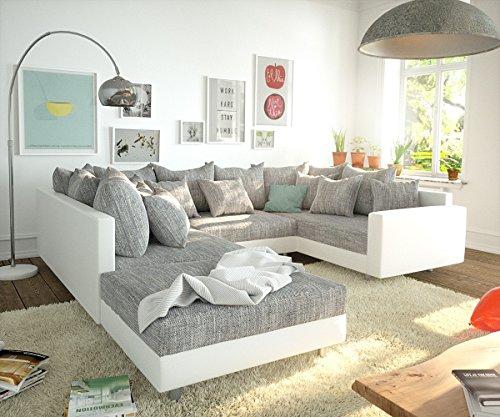 DELIFE Couch Clovis Modular - Ecksofa, Sofa, Wohnlandschaft & Modulsofa (Grau/Weiss, Sofa mit Hocker + Armlehne)