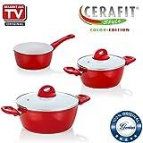 Cerafit Style | Töpfe inkl. Stielkasserolle | 5 Teile | Keramik-Beschichtung | Bekannt aus TV | NEU Farbe Rot