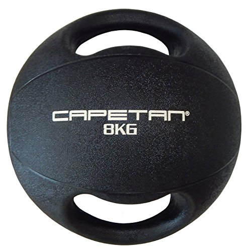 Capetan Professional Line Dual Grip 8 kg Medizinball aus Gummi mit zwei Griffen (auf Wasser schwimmend) – 8 kg Cross Training Medizinball mit Griffen