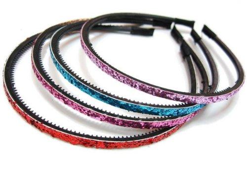 Rougecaramel-Accessori per capelli, Fascia per la testa, headband, con paillette, confezione da 4 pezzi, colori assortiti